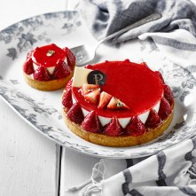 Mousse fromage fraises-rhubarbe
