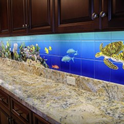 Kitchen Backsplash Murals Utensil Drawer Organizer Tropical Fish Tile  Thomas Deir Honolulu