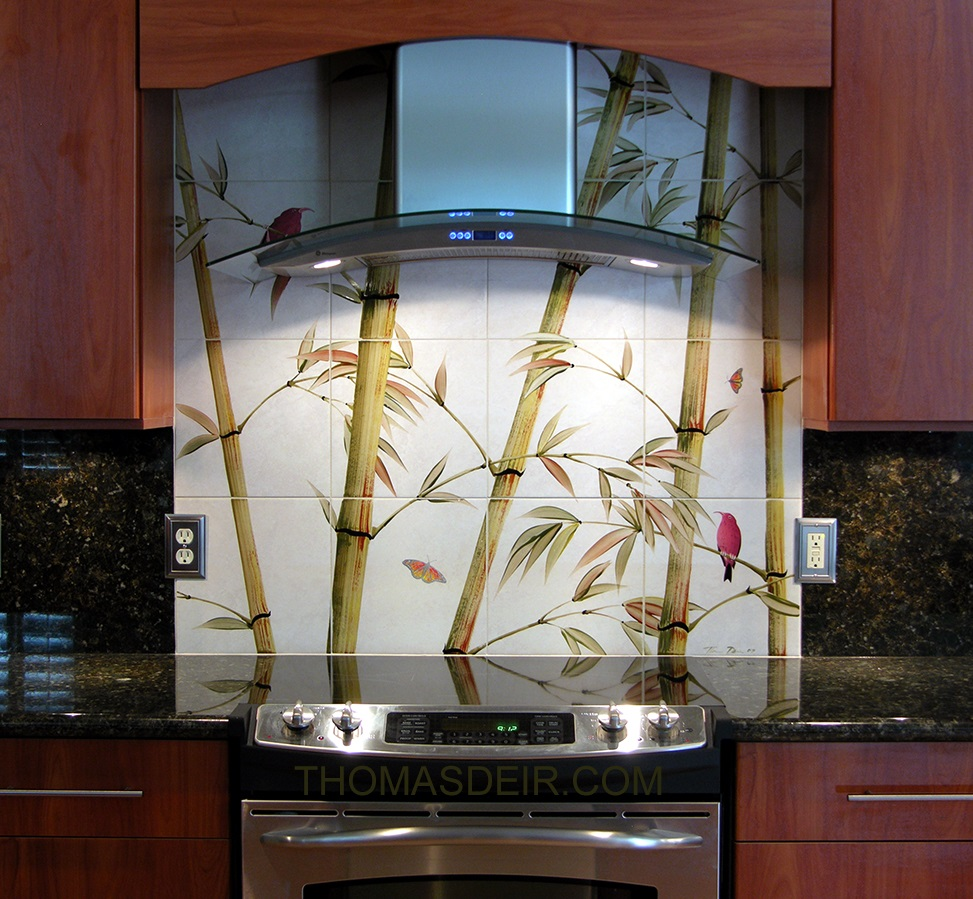 kitchen tile murals compact appliances for small kitchens remodel asian bamboo thomas deir honolulu hi hawaiian design backsplash