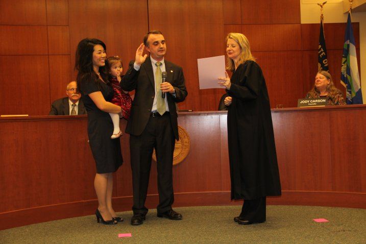 My wife and daughter joined me during my swearing-in.