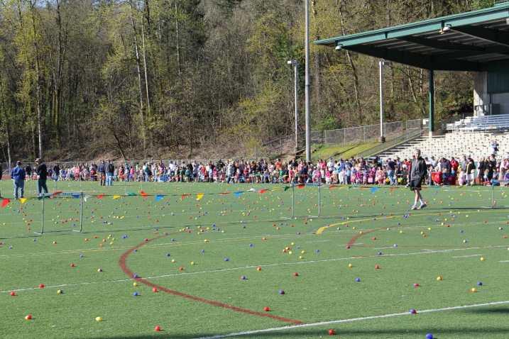 Hundreds of children wait for the Easter Egg Hunt to begin
