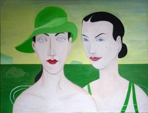 """Groslier, """"Les deux amies"""" 2018 Huile sur toile 60 x 80 cm"""