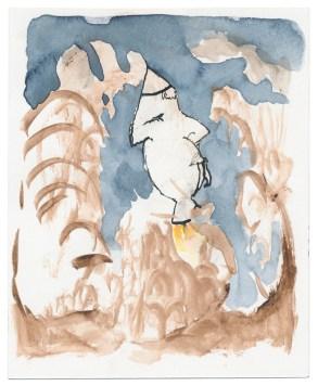 O.T, 2010, Aquarell und Tusche auf Papier, 10,8 x 8,8cm