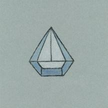 Diamant mit Segelschliff, 2014, Kohle und Buntstift auf Papier, 23,7 x 18,7cm