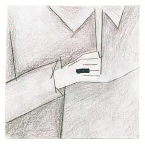 Klavierspieler, 2015, Buntstift auf Papier, 2015, 9,2 x 9,2cm