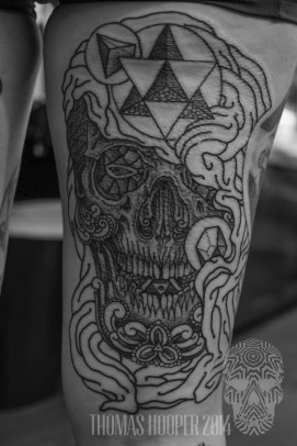 Sacred Geometry Shrouded Skull with ornament and Motifs Dotwork Tattoo Thomas Hooper