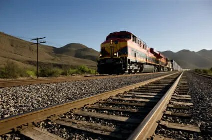train traveling on tracks