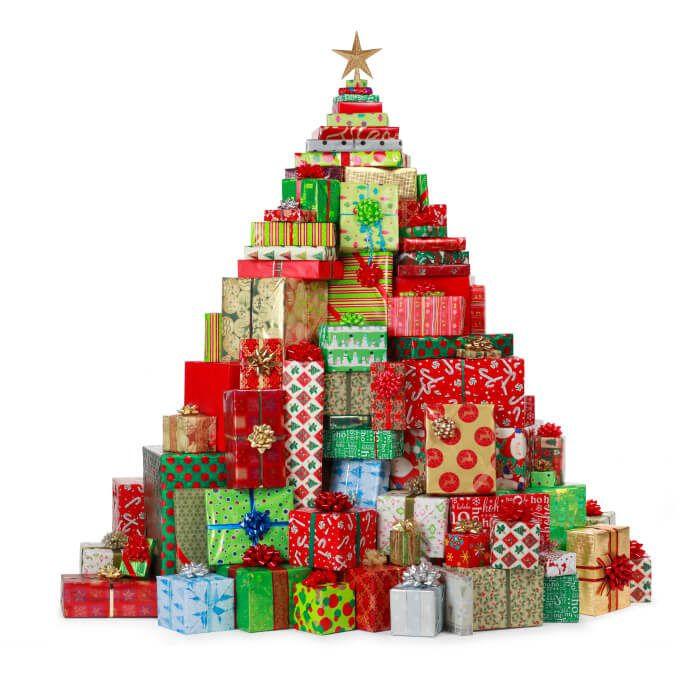 christmas tree made of wrapped gifts and presents