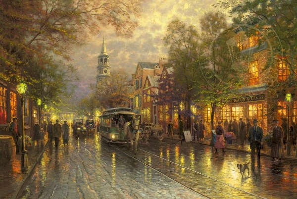 Thomas Kinkade Paintings Evening On the Avenue