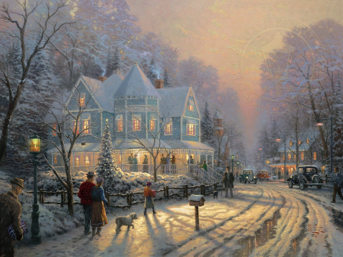Holiday Gathering A  Limited Edition Art  Thomas Kinkade Studios