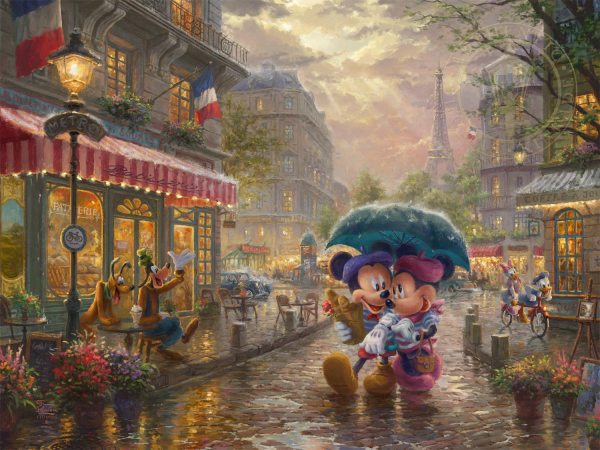 Mickey And Minnie In Paris - Limited Edition Art Thomas Kinkade Galleries Of York
