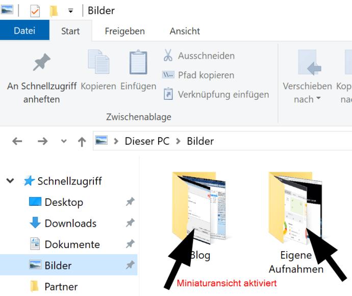 Anzeigen oder Verbergen von Miniaturansichten in Windows 10