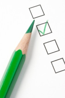 Survey Check Box with Green Checkmark and Pencil