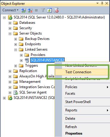 Linked server connection test