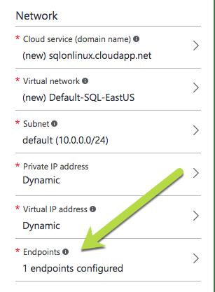 SQL Server vNext on Linux Azure create endpoint