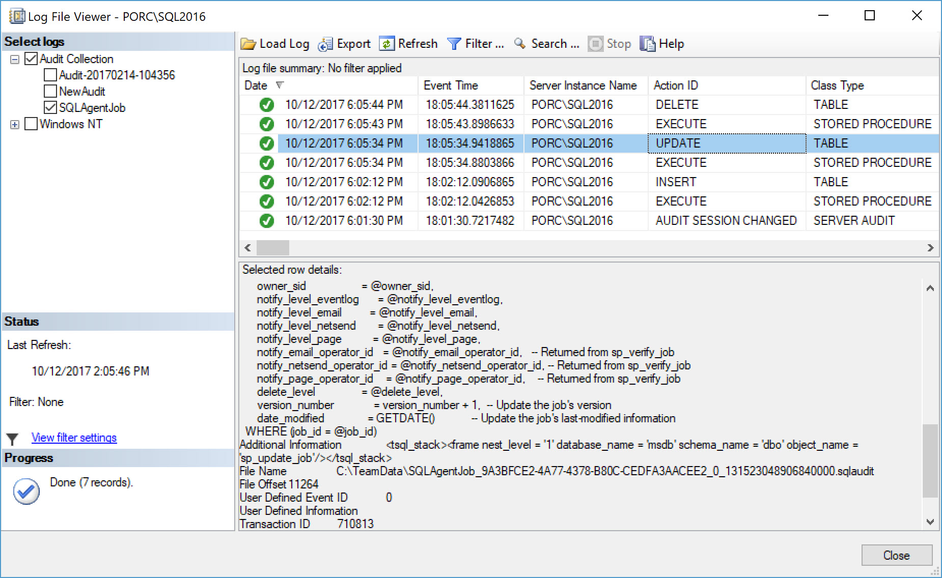 SQL Server Audit Log File