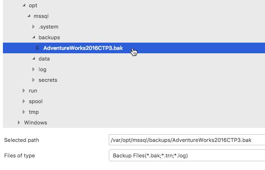 Restoring SQL Server Database on Linux Using SQL Operations Studio