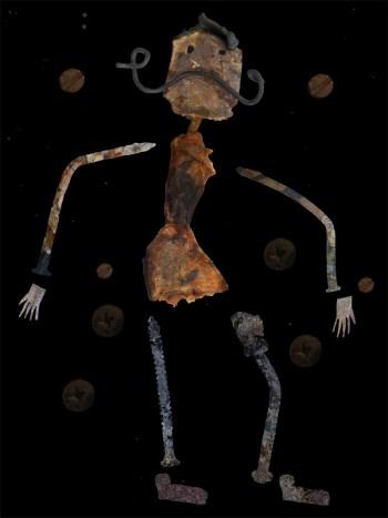 une fois le personnage réalisé en métal, il est photographié numériquement, puis découpé en différents morceaux sous Photoshop afin d'être ensuite animé sous After Effect.