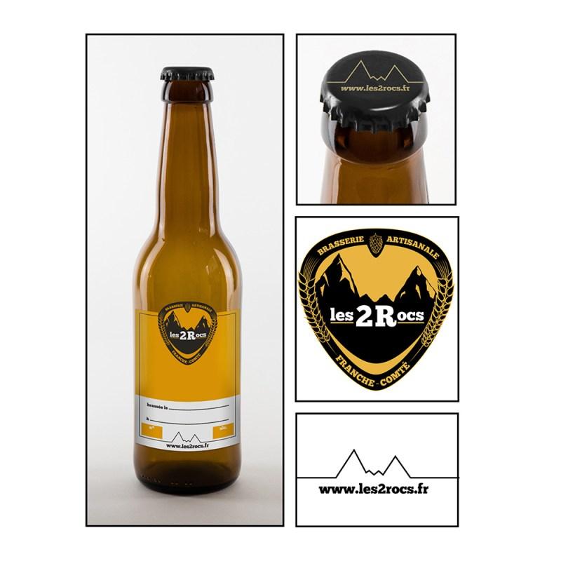 design final de l'identité graphique des bières Les 2 Rocs