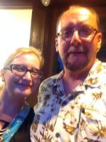"""Me with fellow horror author and  screenwriter Keith Rommel listening to the  sounds of 70's progressive rock band  """"Bang"""" at the Sunbury Press 10th  Anniversary party held at Metropolis Art  Gallery in Mechanicsburg  The party was also a signing and  celibration for Keith's movie """"The Cursed  Man"""" based on his novel of the same name. Me with fellow horror author  Catherine Jordan.  Cathy wrote the  chilling, """"Seeking Samiel"""" With Christina Steffy who not only  edited Keith's """"The Cursed Man""""  but also edited my collection """"13  Nasty Endings"""""""
