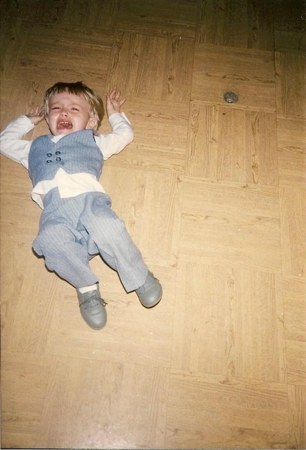Thomas Mark Zuniga toddler crying at a wedding