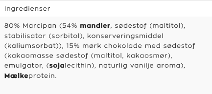 Bodylab Marzipan Protein bar ingredienser - Thomas Moberg