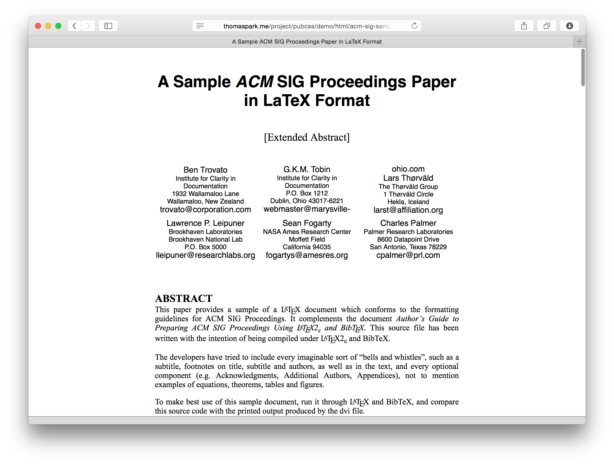 PubCSS Formatting Academic Publications In HTML & CSS Thomas Park