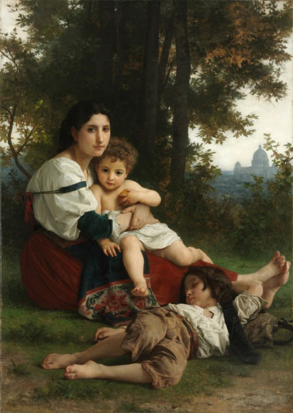 """Bouguereau's 'Rest', oil, 1879, 80"""" x 61"""""""