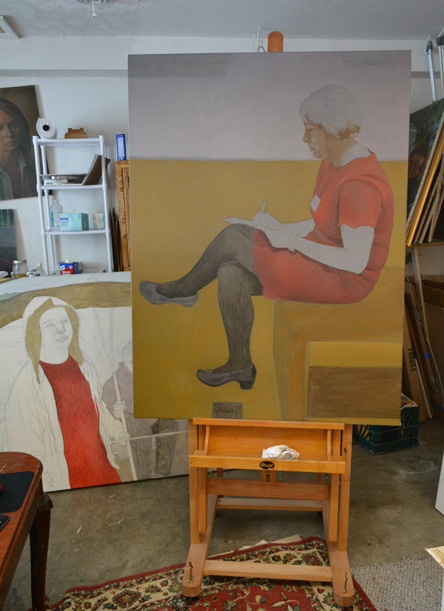 The unfinished 'Taking Note' on the easel
