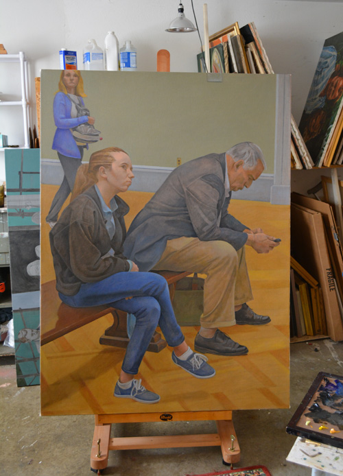 The unfinished 'The News' on the easel