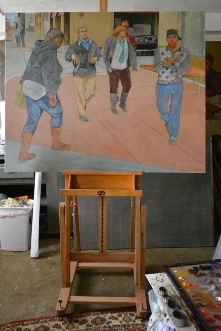 """The unfinished """"Euclid Avenue II"""" on the easel"""