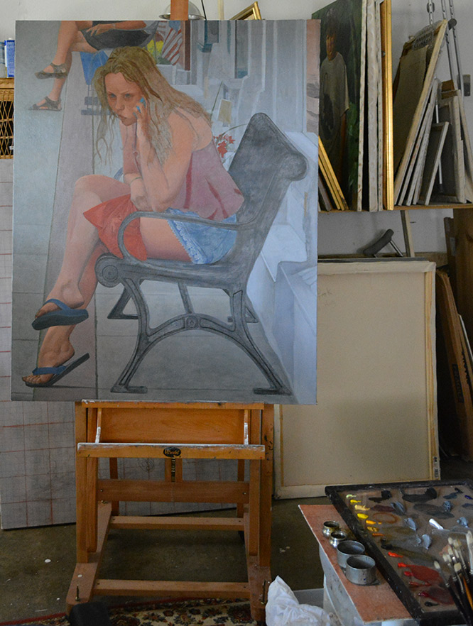 Underpainting, 'Woman Listening to a Phone on Main St.'