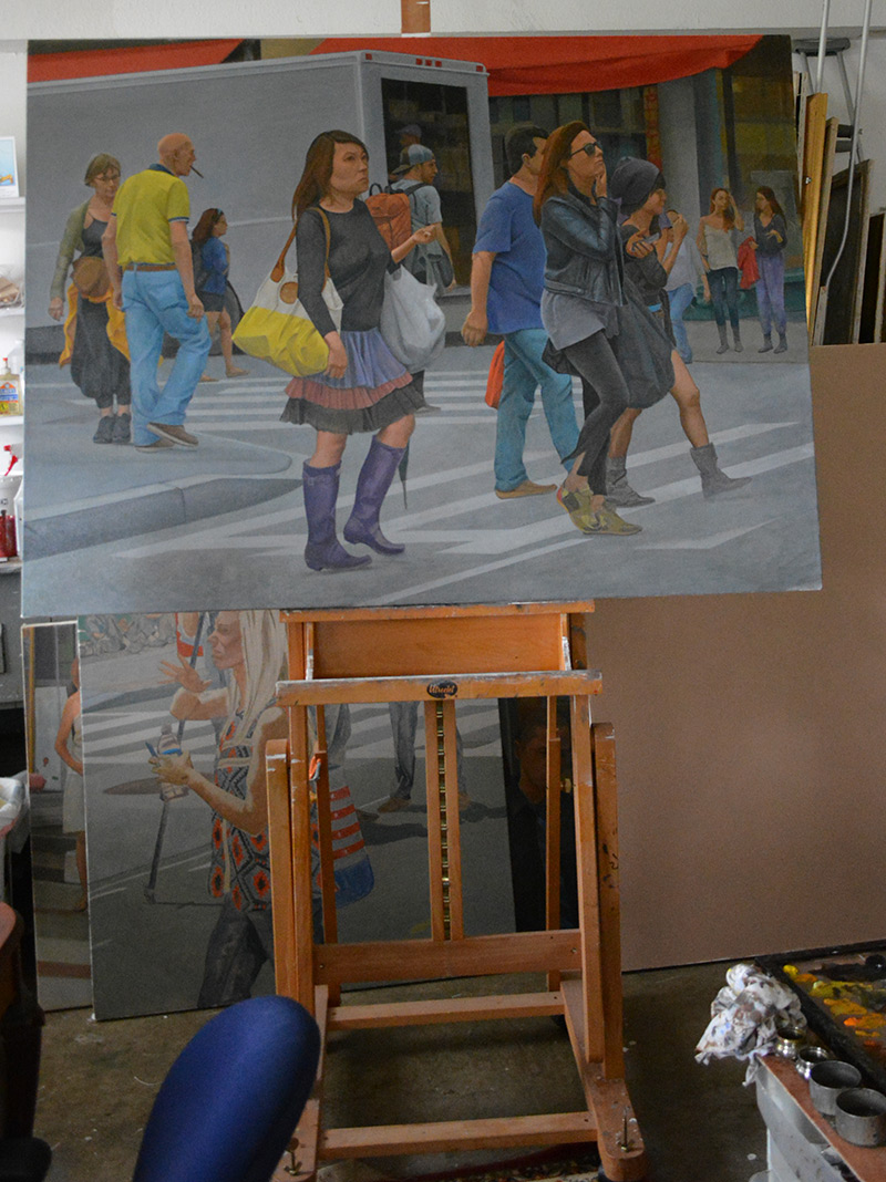 'Girl in the Purple Boots II' on the easel