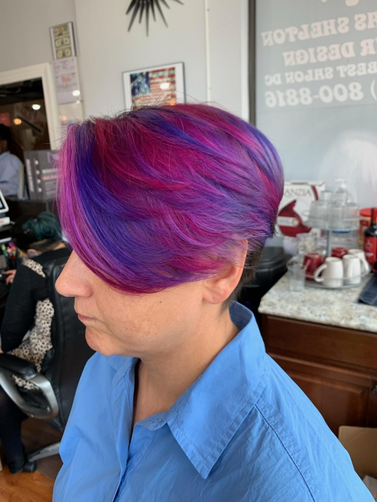 Thomas Shelton Stylist Carlos's Client with Pink and Blue Hair