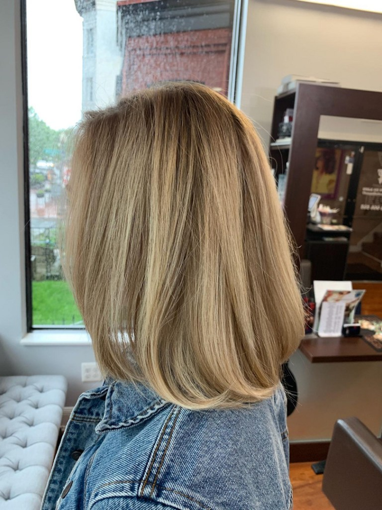 Thomas Shelton Stylist Carlos's Client with Blond Highlights