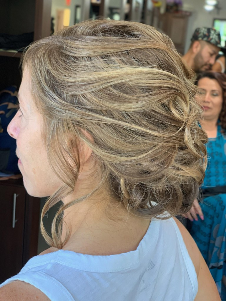 Thomas Shelton Stylist Carlos's Client with Blonde Up-Do