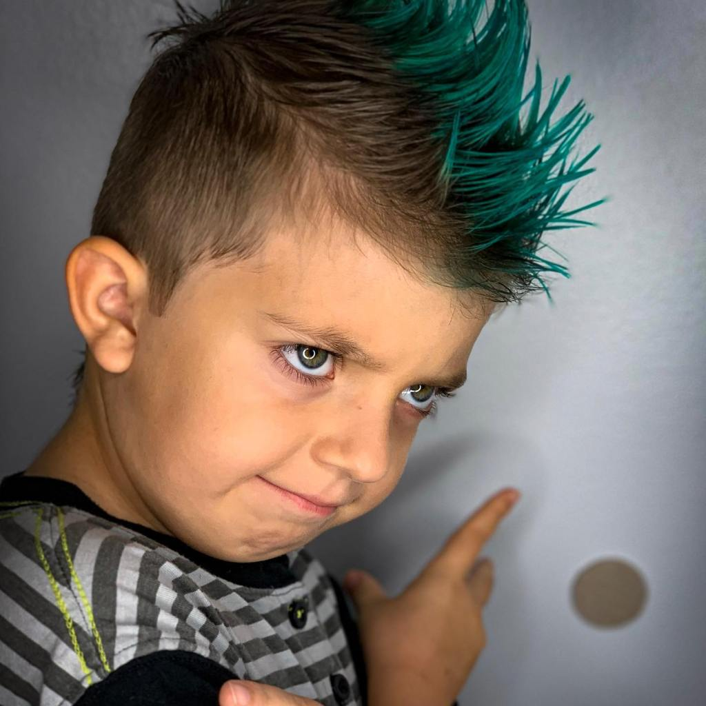 Thomas Shelton's Young Client with Green Mohawk
