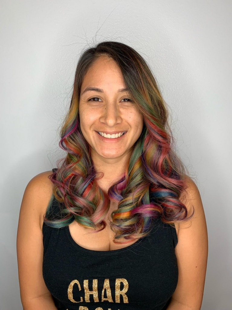 Thomas Shelton Stylist Carlos's Client with Multicolored Hair