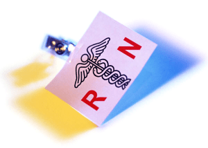 photo of registered nurse identification badge