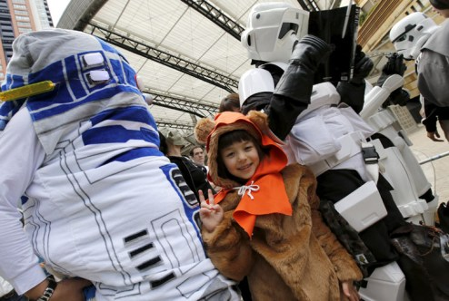 "Cosplayers dressed up as ""Star Wars"" characters take part in a Star Wars Day fan event in Tokyo"
