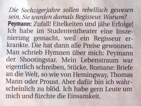 Peymann spricht über seinen Lebenstraum
