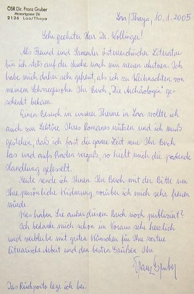 """Brief eines Lesers von """"Die Archäologin"""" vom 14.1.2005"""