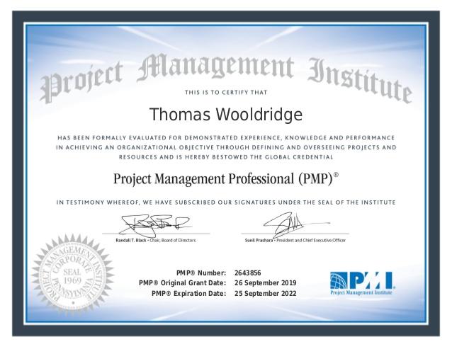 How I Passed The Pmp Examination Thomas Wooldridge