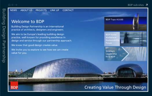 BDP website from around 2004. Large format image of the Glasgow Science Centre with introductory text plus three news items, and a navigation menu.