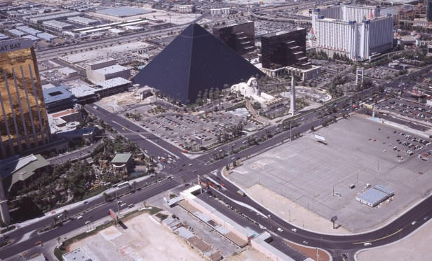 """Aerial view of Las Vegas, focusing on the Luxor Hotel """"pyramid."""""""