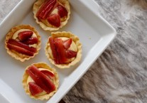 Rhubarb, strawberry and thyme tarts