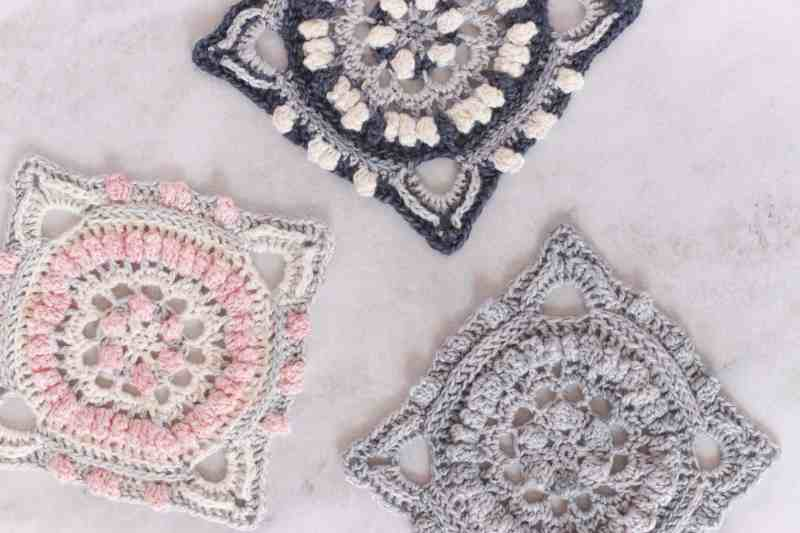 Free crochet block pattern, free afghan square pattern using fingering weight yarn, pretty crochet squares in pink, grey and cream with a touch of navy blue.