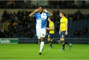 Ellis Harrison of Bristol Rovers celebrates at Oxford Away - Mandatory byline: Alex James/JMP - 17/01/2016 - FOOTBALL - The Kassam Stadium - Oxford, England - Oxford United v Bristol Rovers - Sky Bet League Two
