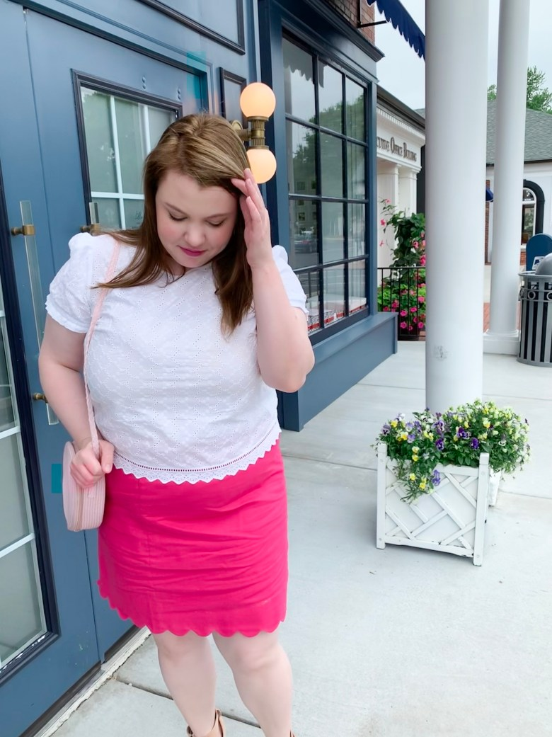 White Eyelet Top Pink Scalloped Skirt