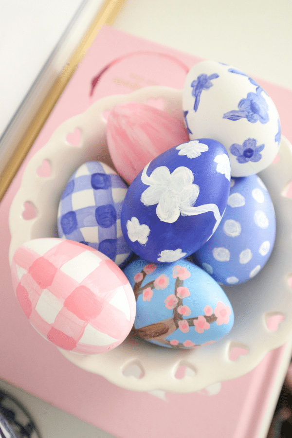Blue and white painted Easter eggs